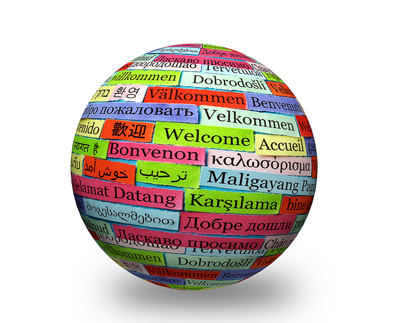 welcome colorfull   in different languages on 3d sphere